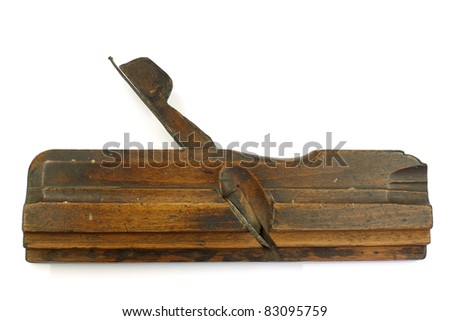 old vintage wooden rabbet plane on a white background - stock photo
