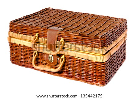 Old vintage wooden suitcase wicker, isolated on white background - stock photo