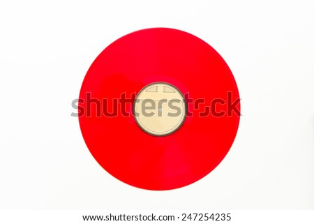 Old vinyl long play record on white background. - stock photo