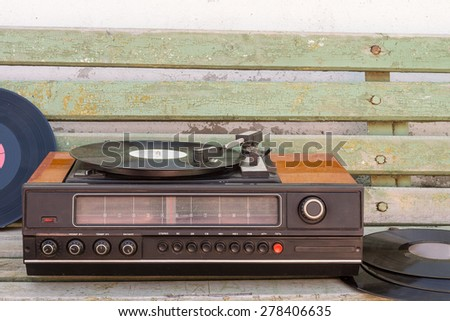 Old vinyl player - stock photo