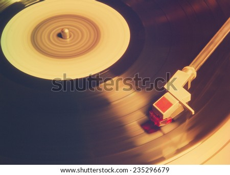 old vinyl player, retro film filtered, instagram style  - stock photo
