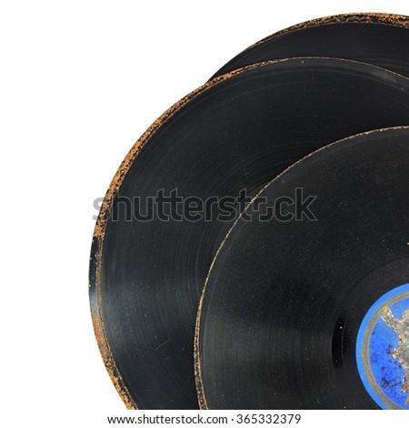 Old vinyl record isolated on white background - stock photo
