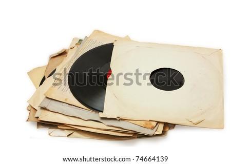 old vinyl record paper case - stock photo