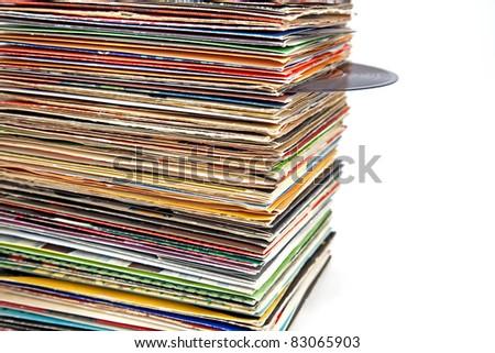 old vinyl records - stock photo