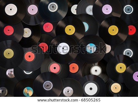 Old vinyl records collection - stock photo