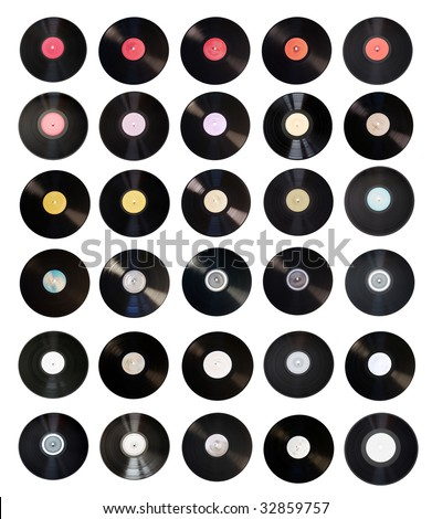 Old vinyl records collection isolated on white background with clipping path - stock photo