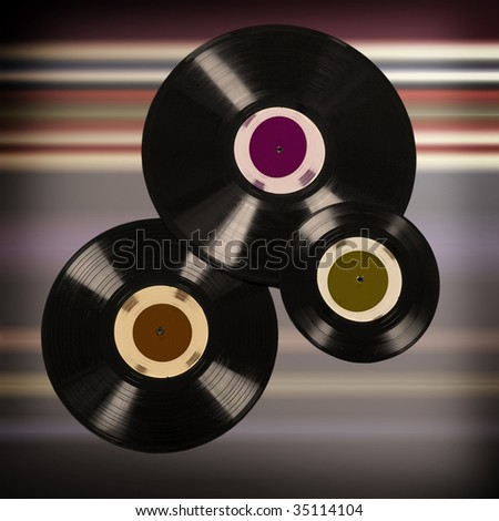old vinyl records with blank label - stock photo