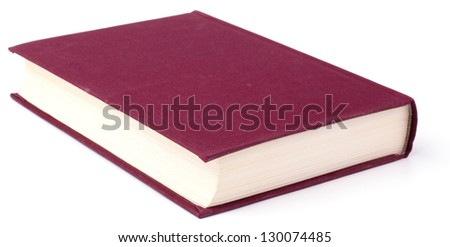 Old violet book isolated on white background