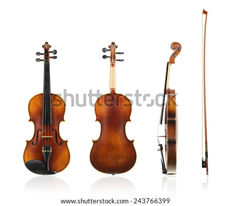 Old violin front, back and side view with violin bow isolated on white background. - stock photo