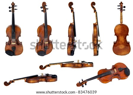 Old violin, isolated on a white background - stock photo