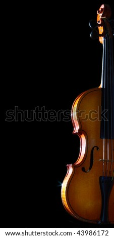 Old violin isolated on black background. Vertical image.