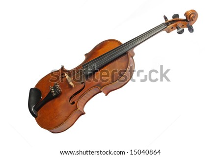 Old violin isolated on white background - stock photo