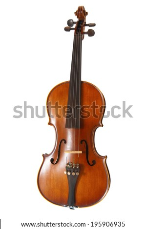 Old violin on white background - stock photo
