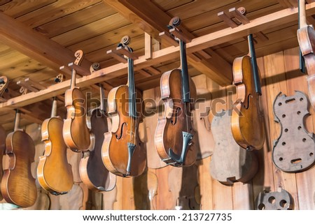 old violins - stock photo