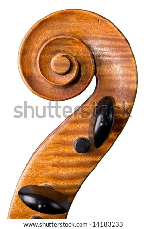old violoncello close-up isolated on white background - stock photo