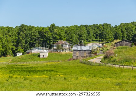Old Virginia  farm and buildings in Appalachian Mountains near Blue Ridge Parkway. - stock photo