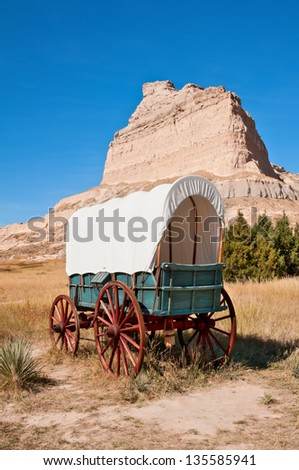 Old wagon at Scott's Bluff National Monument in Nebraska. - stock photo