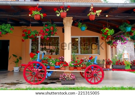 old wagon filled with flower pots, Serbia - stock photo