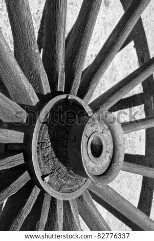 old wagon wheel wood - stock photo