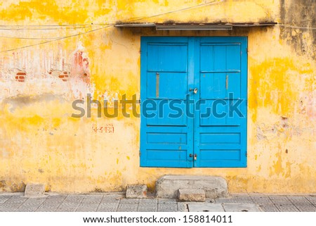 Old wall and door colorful vintage background