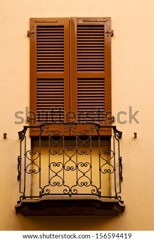 old wall and terrace in the   centre   of city lugano Switzerland Swiss  - stock photo