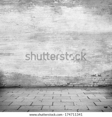 old wall background to interior design grunge abandoned warehouse - stock photo