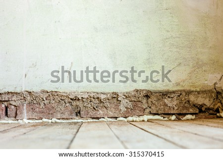 Old Wall Background with wood floor