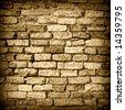 Old wall 6. Brick wall background. Sepia version - stock photo