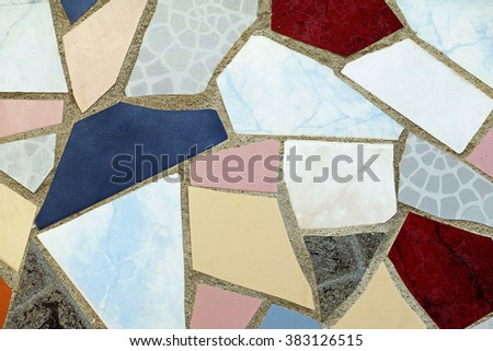 Old wall ceramic tiles patterns handcraft for design indoor outdoor pavement sidewalk from thailand road park public - stock photo
