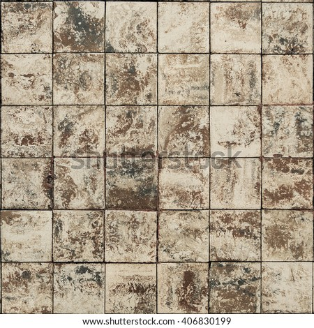 Old wall ceramic tiles patterns handcraft from thailand parks public - stock photo