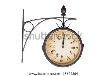 old wall clock black and yellow in white background - stock photo