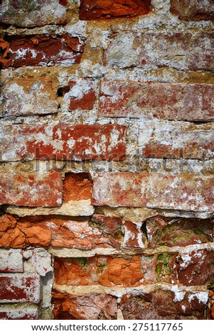 old wall of red brick. textured background - stock photo