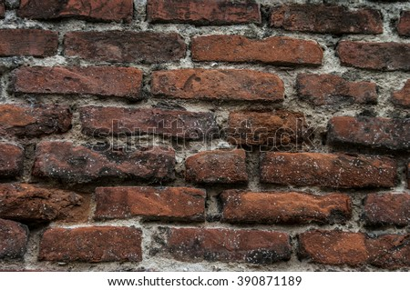 Old wall of red briks. Red brick wall. Wallpaper of ordinary building wall texture. Tiles - stock photo