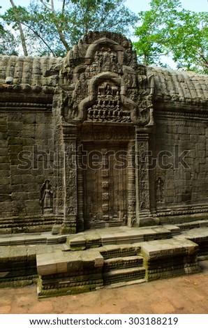 Old wall of Ta Phrom, Angkor - stock photo