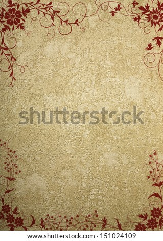 old wall paper with floral design - stock photo