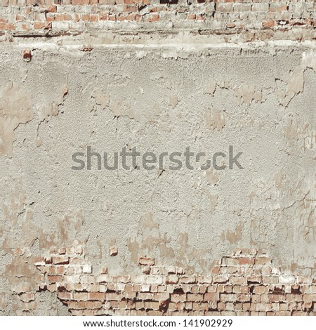 old wall texture background red bricks and cement plaster - stock photo