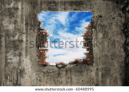 old wall with blue sky window - stock photo