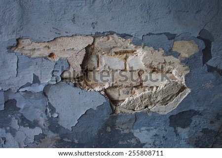 old wall with broken tiles, texture - stock photo