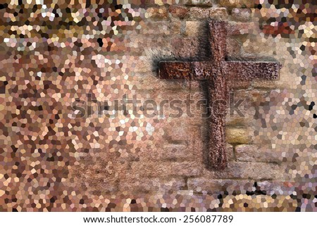 Old Wall With Cross made in 3d software - stock photo