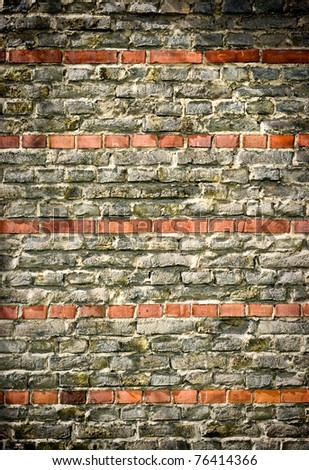 Old wall with red stripes - stock photo
