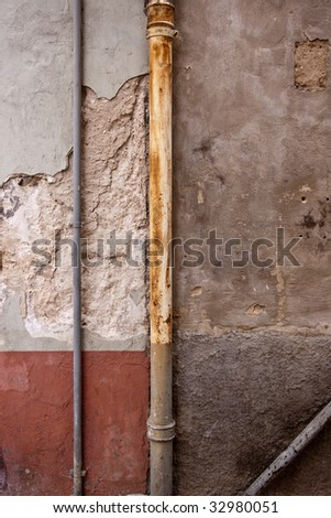 Old Walls and Rain Gutters at Speyer, Germany - stock photo
