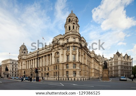 Old War Office Building, seen from Whitehall - the former location of the War Office, London, UK. Cityscape shot with tilt-shift lens maintaining verticals - stock photo
