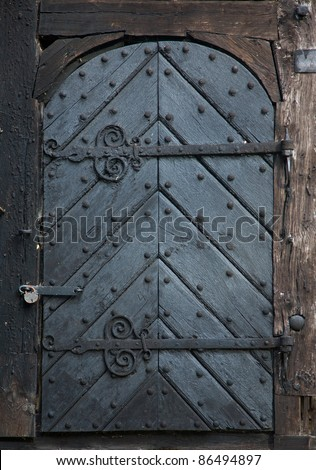 Old warehouse doors - stock photo