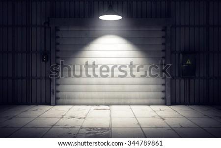 Old warehouse loading dock inside. 3D rendering - stock photo