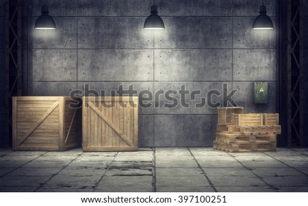 Old warehouse with wooden crates inside. 3d rendering - stock photo