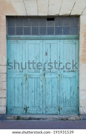 old warehouse wooden door - stock photo