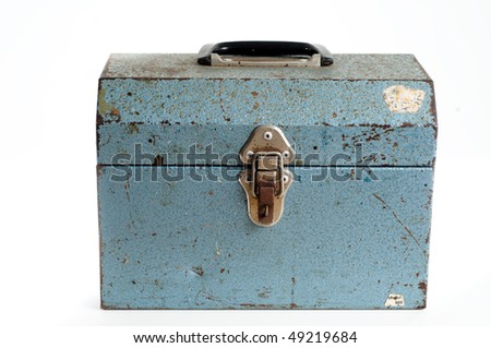 Old warn Blue metal tool box on white
