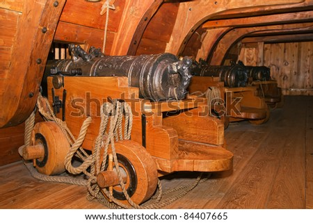 Old warship cannon. - stock photo