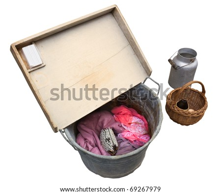old washtub with wooden washboard, soap, brush, water tank, wicker basket, antique tools for laundry, retro washing clothing - isolated - stock photo