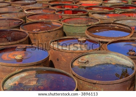 Old waste drums - stock photo